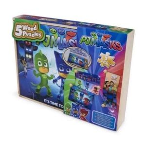 Other - PJ Masks 5-Pack Wood Puzzles In Wooden Storage Box
